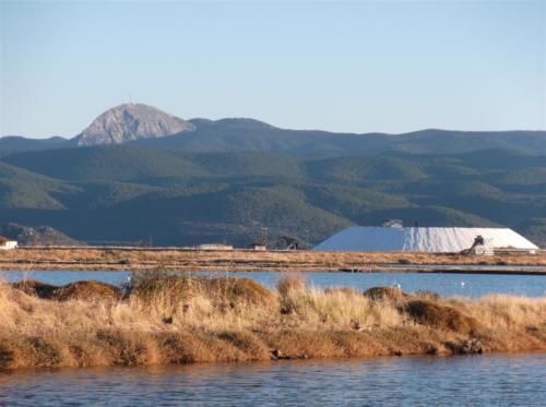 Salt plains Kalloni and Mount Olympos on Lesvos