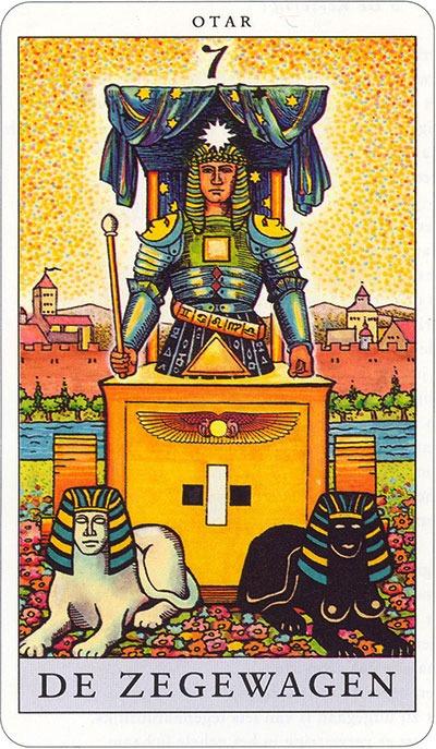 Tarotkaart 09 De Zegewagen 7 grote Arcana De Tarot in de herstelde orde