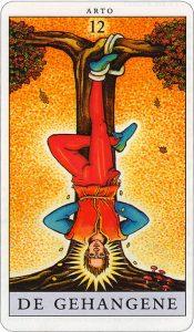 Tarotkaart 14 De Gehangene 12 grote Arcana De Tarot in de herstelde orde