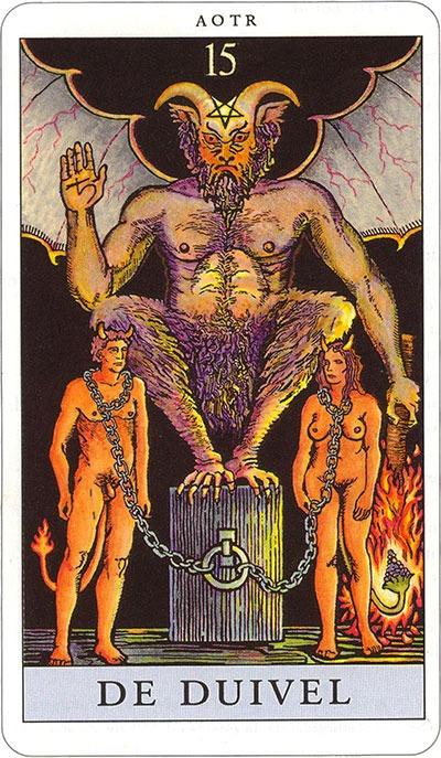 Tarotkaart 17 De Duivel 15 grote Arcana De Tarot in de herstelde orde