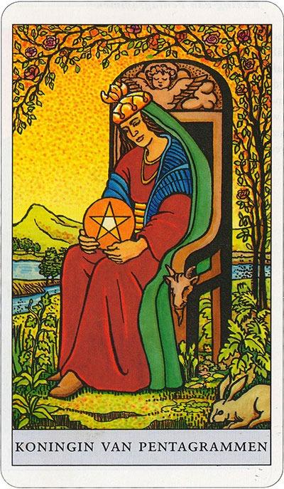 Tarotkaart 26 Pentagrammen Koningin Hofkaart Munten Pentakels of Schijven
