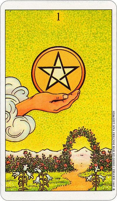 Tarotkaart 29 Pentagrammen 1 Aas Munten Pentakels of Schijven
