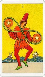 Tarotkaart 30 Pentagrammen 2 Twee Munten Pentakels of Schijven