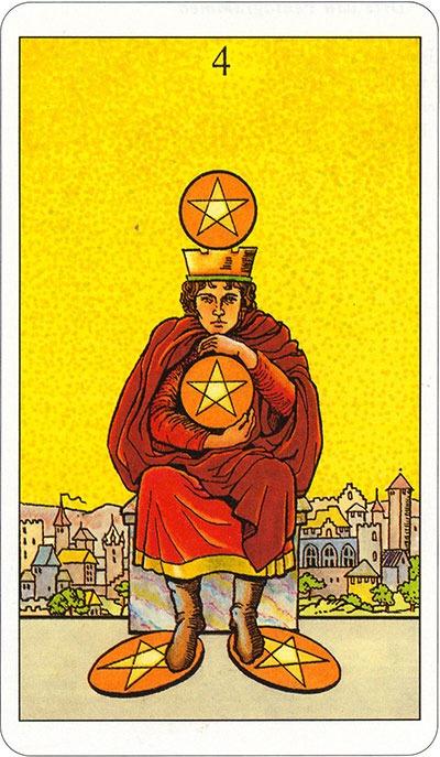 Tarotkaart 32 Pentagrammen 4 Vier Munten Pentakels of Schijven