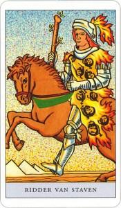 Tarotkaart 41 Staven Ridder Hofkaart Stokken Scepters Knotsen of Batons