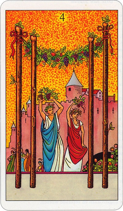 Tarotkaart 46 Staven 4 Vier Stokken Scepters Knotsen of Batons