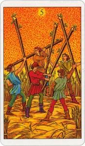 Tarotkaart 47 Staven 5 Vijf Stokken Scepters Knotsen of Batons