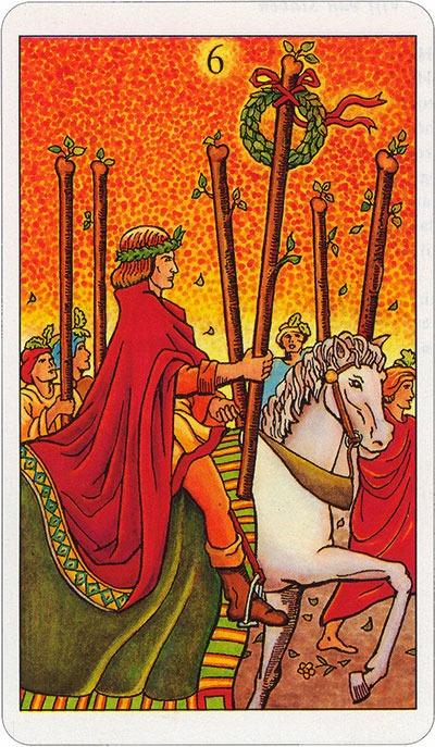 Tarotkaart 48 Staven 6 Zes Stokken Scepters Knotsen of Batons