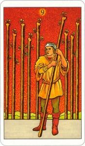 Tarotkaart 51 Staven 9 Negen Stokken Scepters Knotsen of Batons
