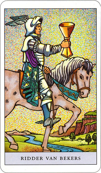 Tarotkaart 55 Bekers Ridder