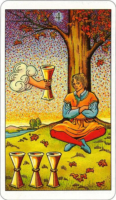 Tarotkaart 60 Bekers 4 Vier