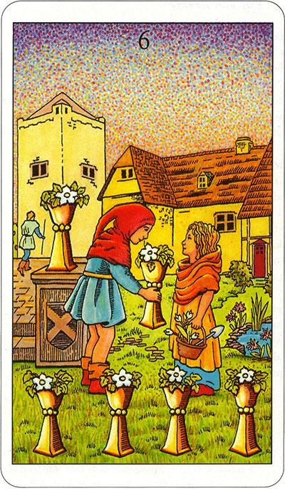 Tarotkaart 62 Bekers 6 Zes