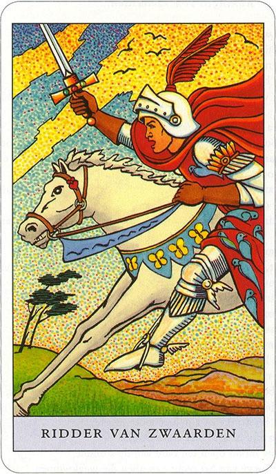 Tarotkaart 69 Zwaarden Ridder