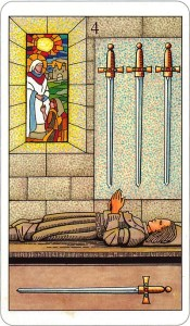 Tarotkaart 74 Zwaarden 4 Vier