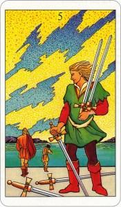 Tarotkaart 75 Zwaarden 5 Vijf