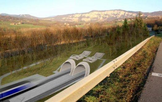 Le tunnel de Dullin-L'épine, long d'environ 15 km, permet de traverser les massifs de Dullin et de L'Epine pour relier l'Avant-Pays Savoyard à la Cluse de Chambéry. L'ouvrage est composé d'un tunnel bitube (un tube par sens de circulation). Photo : capture d'écran : http://www.lyon-turin.info