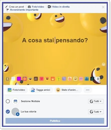 creare una story con sfondo colorato su profilo facebook