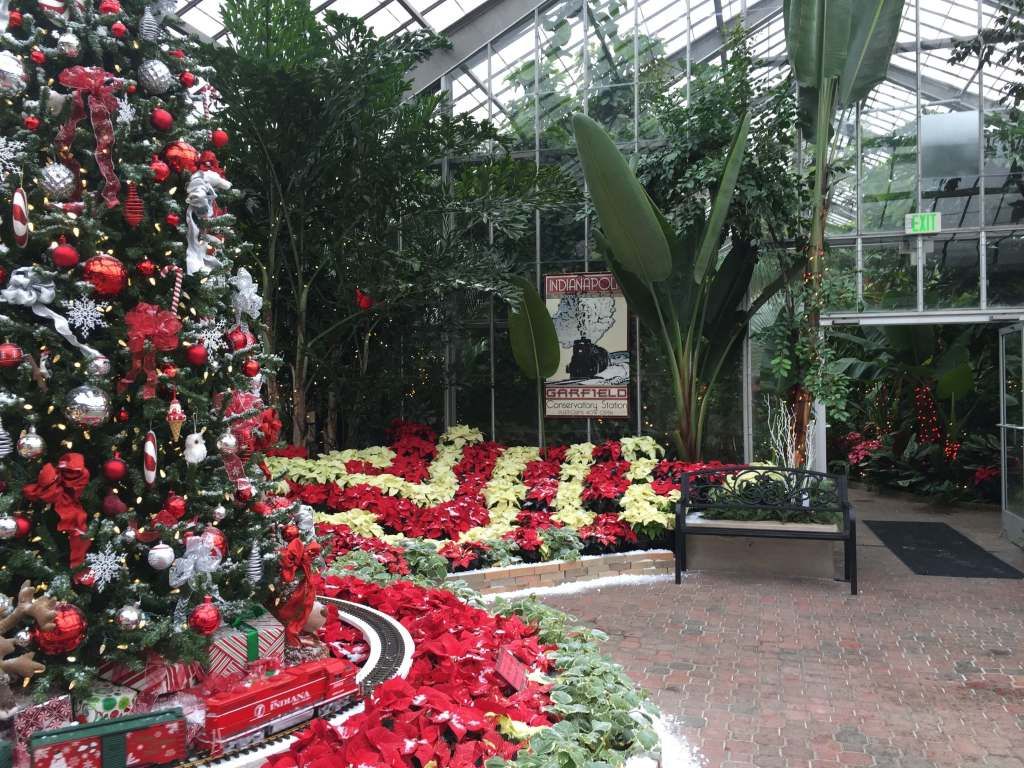 Garfield Park Indianapolis Conservatory Crossing Christmas Display