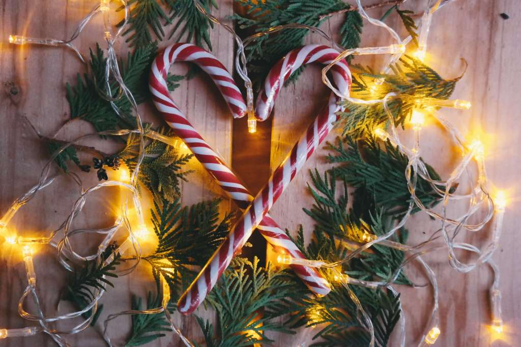 Candy Cane Heart with Christmas lights and greens