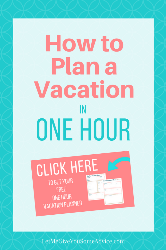 Save time planning your vacation with a FREE One Hour Vacation Planner. Plan your family's next vacation in the time it takes to watch an episode of your favorite TV drama!