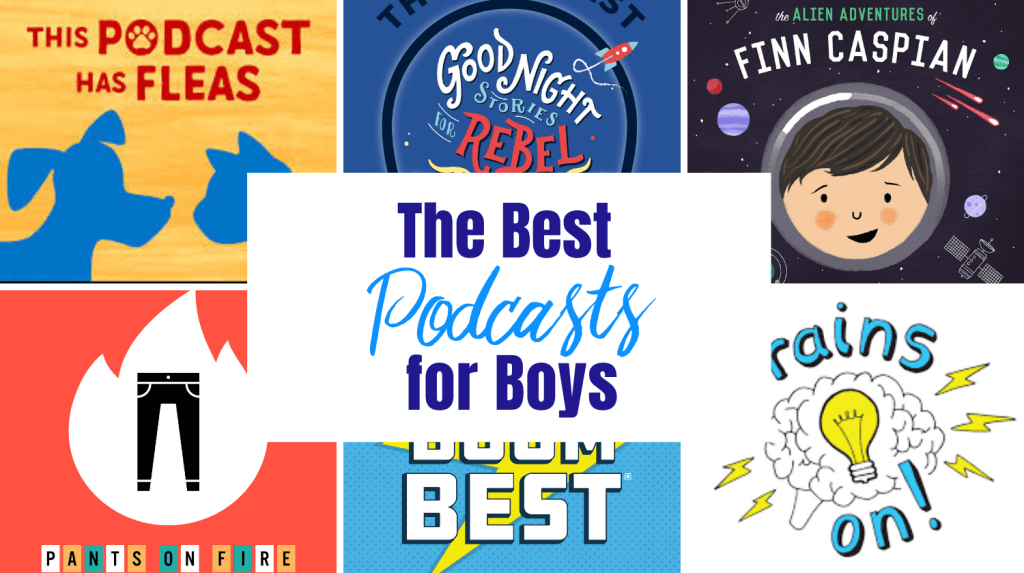 "Podcast Logos with Text ""Best Podcasts for Boys"""