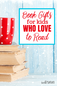 """Red mug on top of books with snow - text """"Book Gifts for Kids Who Love to Read"""""""