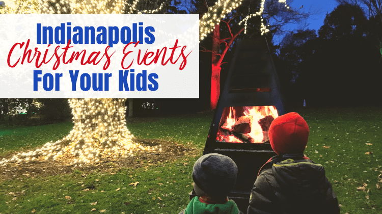 Indianapolis Christmas Events for Kids - feature image kids by outdoor fire with lights