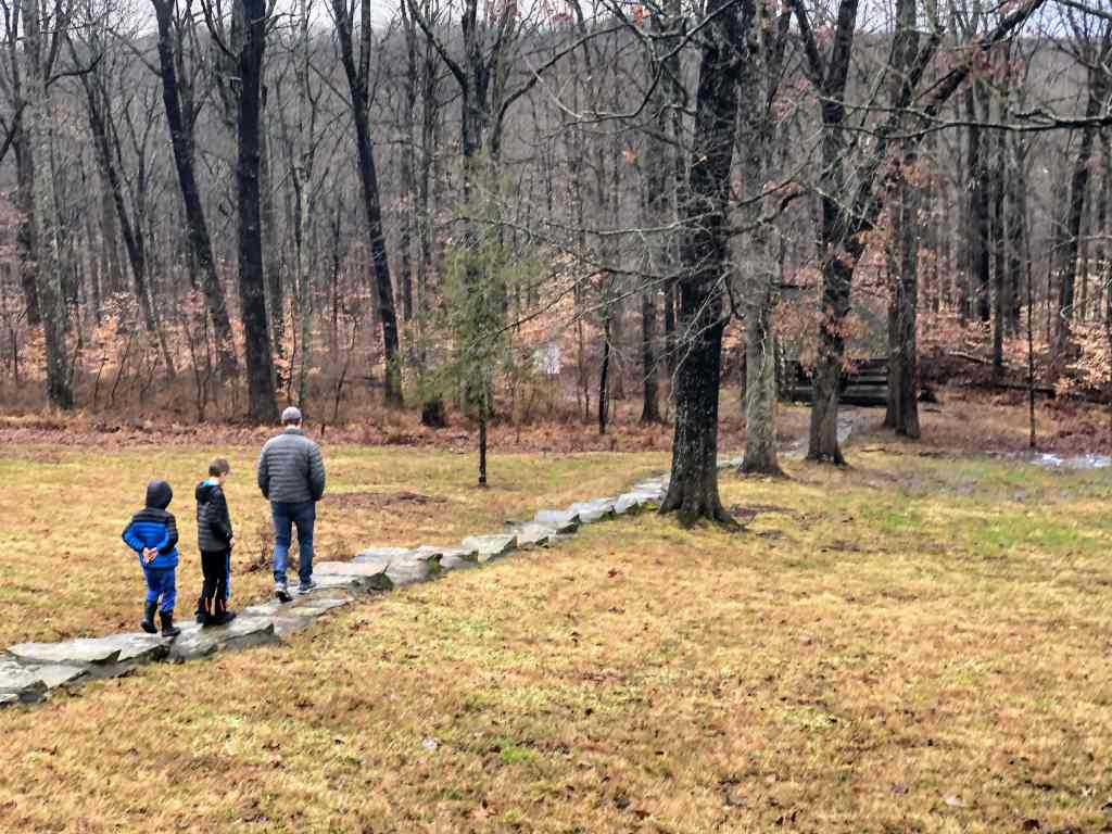 Brown County with Kids in Winter - kids hiking