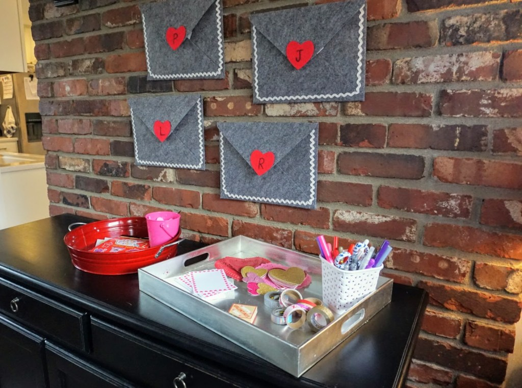 Valentine's Mail Station - set up with envelopes and trays