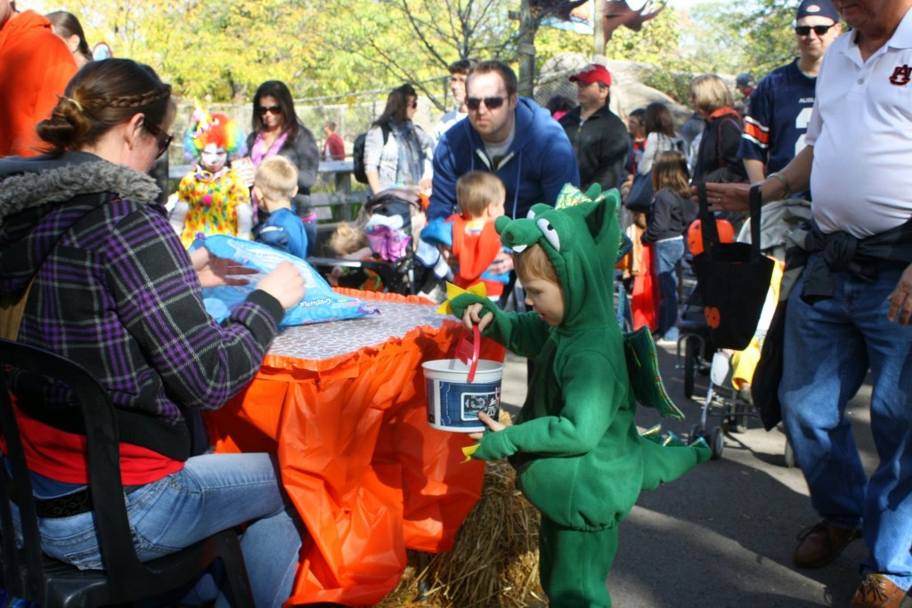 Fall activities in Indianapolis - Zoo Boo trick or treating child getting candy
