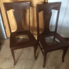 Sikes Chair Company Alps Mountaineering Antique Vintage Furniture Pair Of Solid Oak Chairs With Cane Seats That Need To Be Redone And Refinished Sold