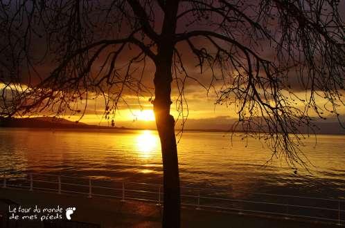Coucher de soleil sur le lac leman
