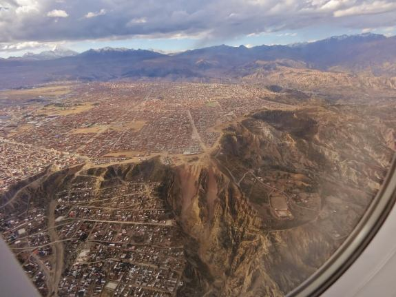 La Paz bolivie vue de l'avion