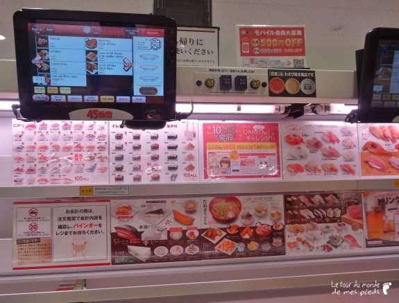 uobei, l'écran tactile et la carte du restaurant sushi à Shibuya