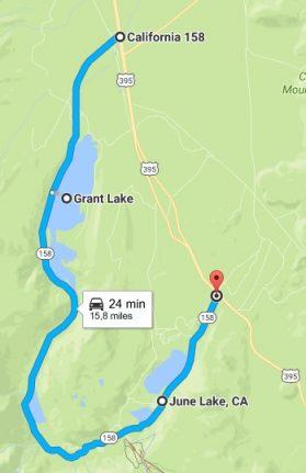itinéraire June Lake et Grant Lake