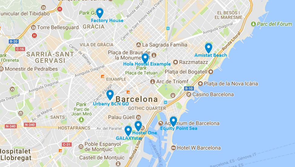 carte auberges jeunesse Barcelone