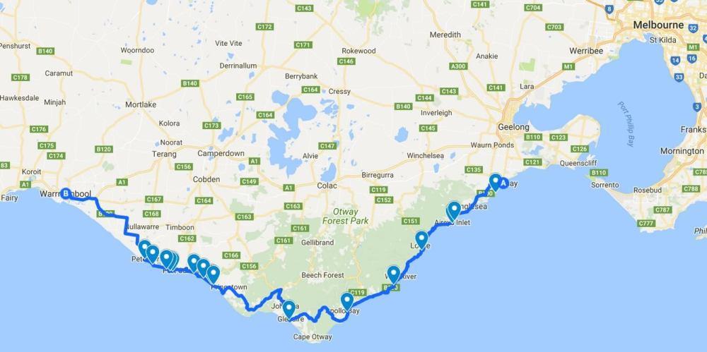 Carte Great Ocean Road