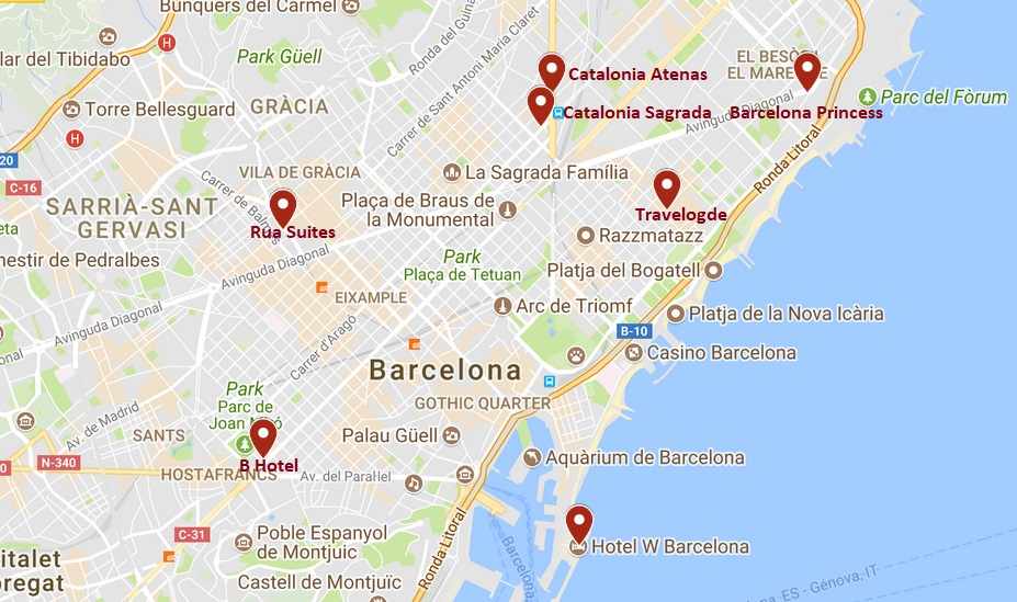 carte hôtels de Barcelone