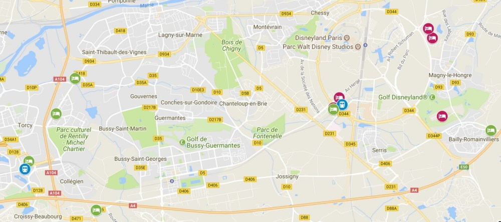 Carte hotels proximité Disneyland Paris