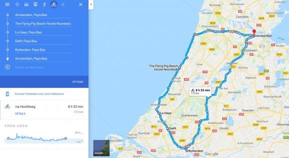 Itinéraire vélo Pays Bas