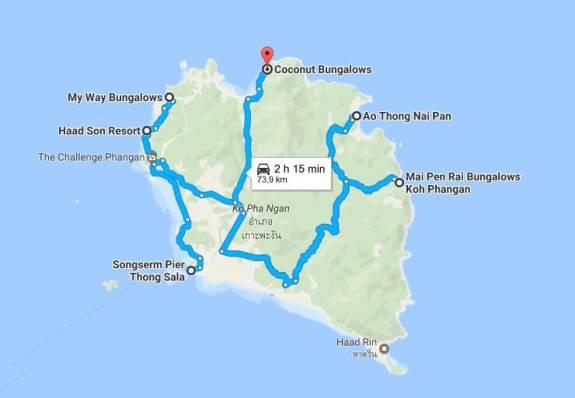 Carte de Koh Phangan