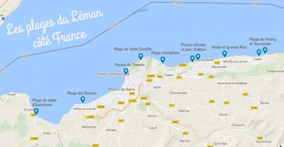 Carte Plages Lac Léman France