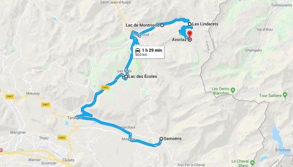 Samoens Avoriaz carte itinéraire Geopark