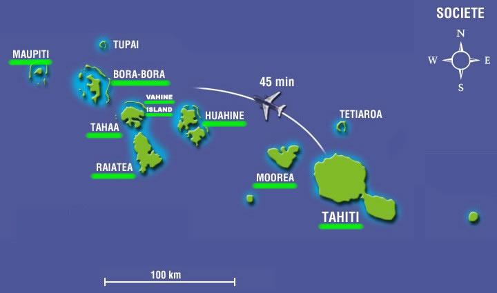 Carte de l'archipel de la Société