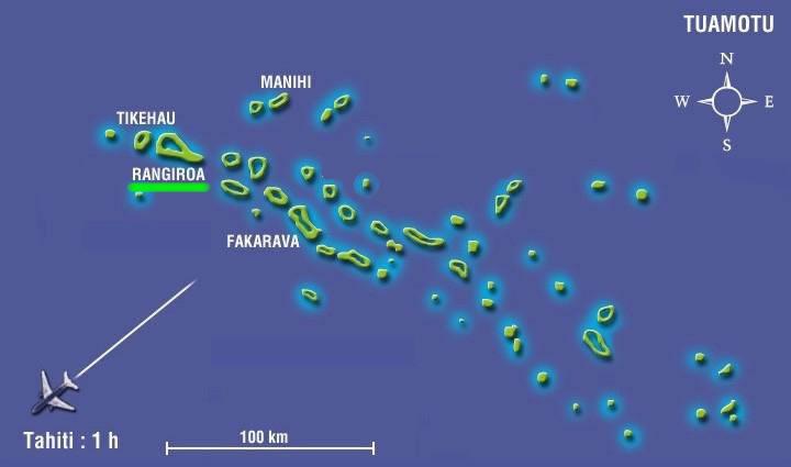 Carte de l'archipel des Tuamotu