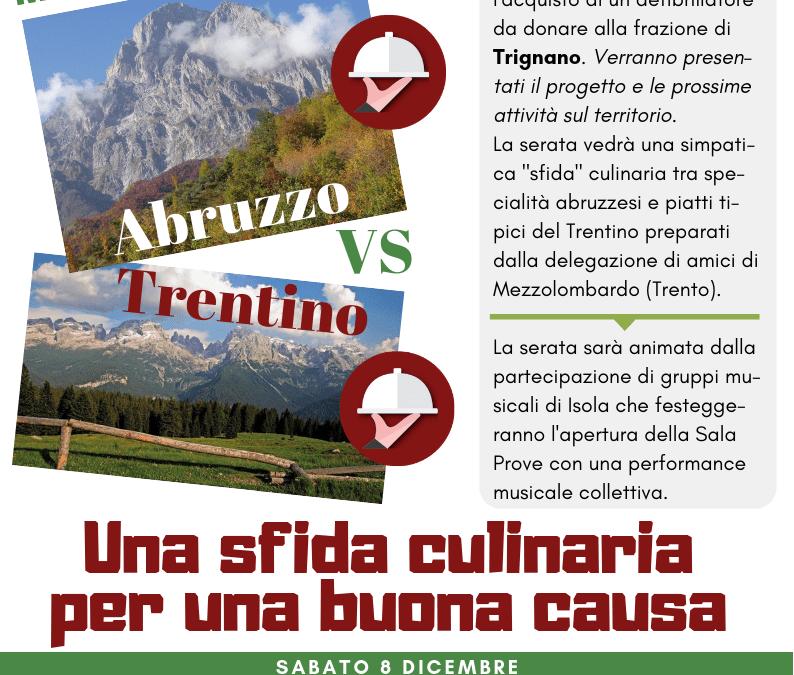 """Sabato 8 Dicembre: Abruzzo vs Trentino, una """"sfida"""" gastronomica di beneficenza"""