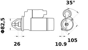 Anlasser Reduktionsgetriebestarter 12V/2,6kW 9z f.Iskra