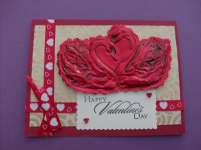 Embossed Swan Homemade Love Card