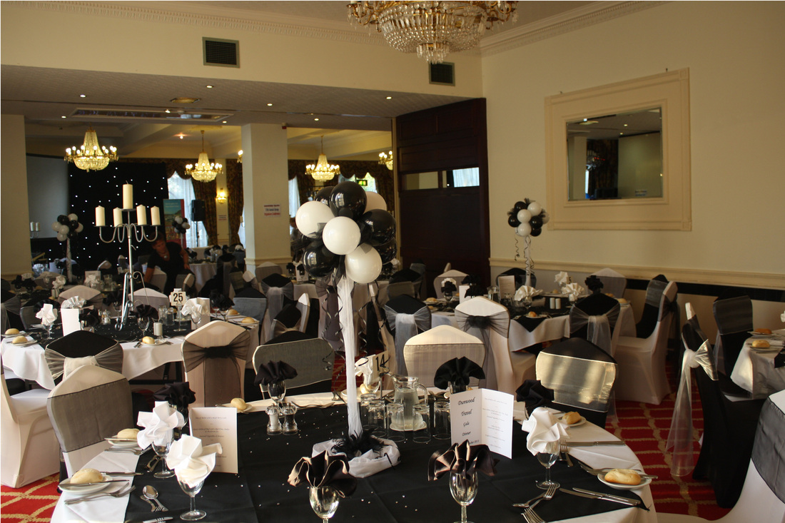 chair cover hire manchester uk stand up desk high weddings in balloon decoration black white ball britannia country house