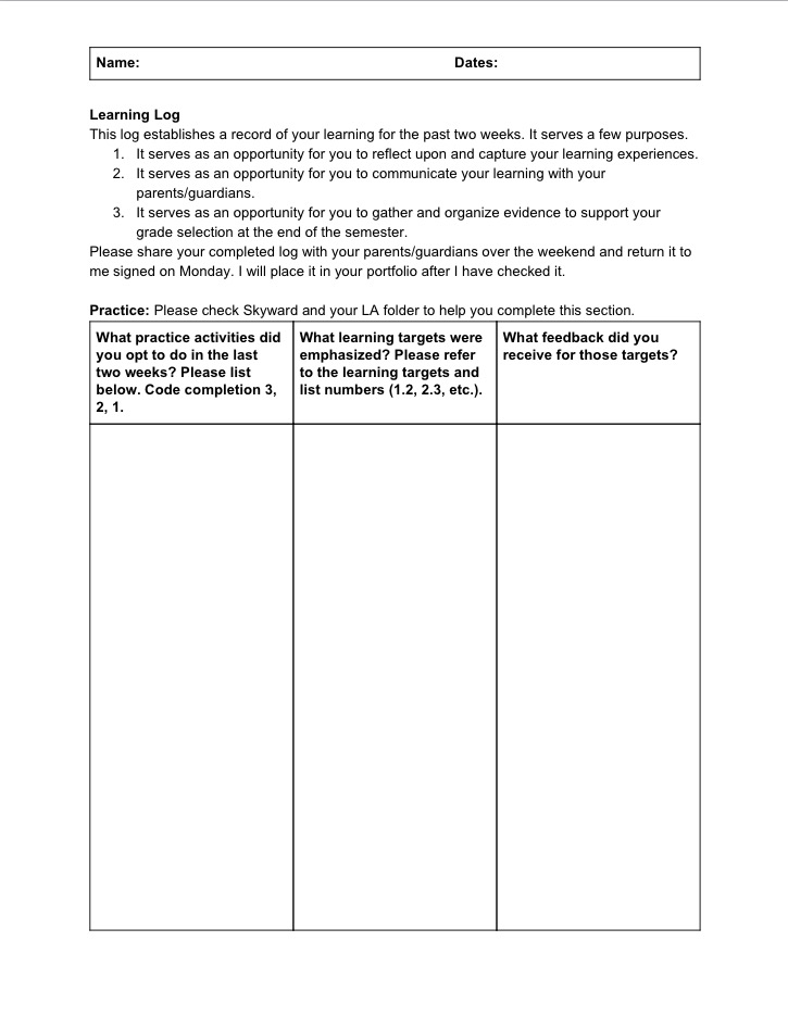 learning logs Learning logs what are learning logs  learning logs are a simple and straightforward way to help students integrate content, process, and personal feelings.